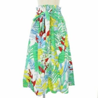 【中古】ザラウーマン ZARA WOMAN スカート ロング フレア 花柄 フラワー リボン マルチカラー XS レディース