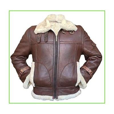Men's Aviator RAF B3 Sheepskin Fur Shearling Bomber Flying Leather Jacket (L) Brown【並行輸入】【新品】