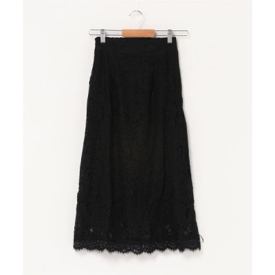 スカート 花柄総レースAラインスカート