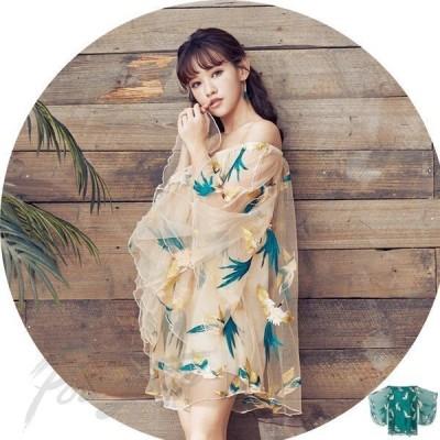 レディースワンピース 花柄長袖ワンピース 刺繍チュニック お嬢様 大人上品 パーティー 透け感のある素材を使用しているので 着こなしを軽やかに演出します