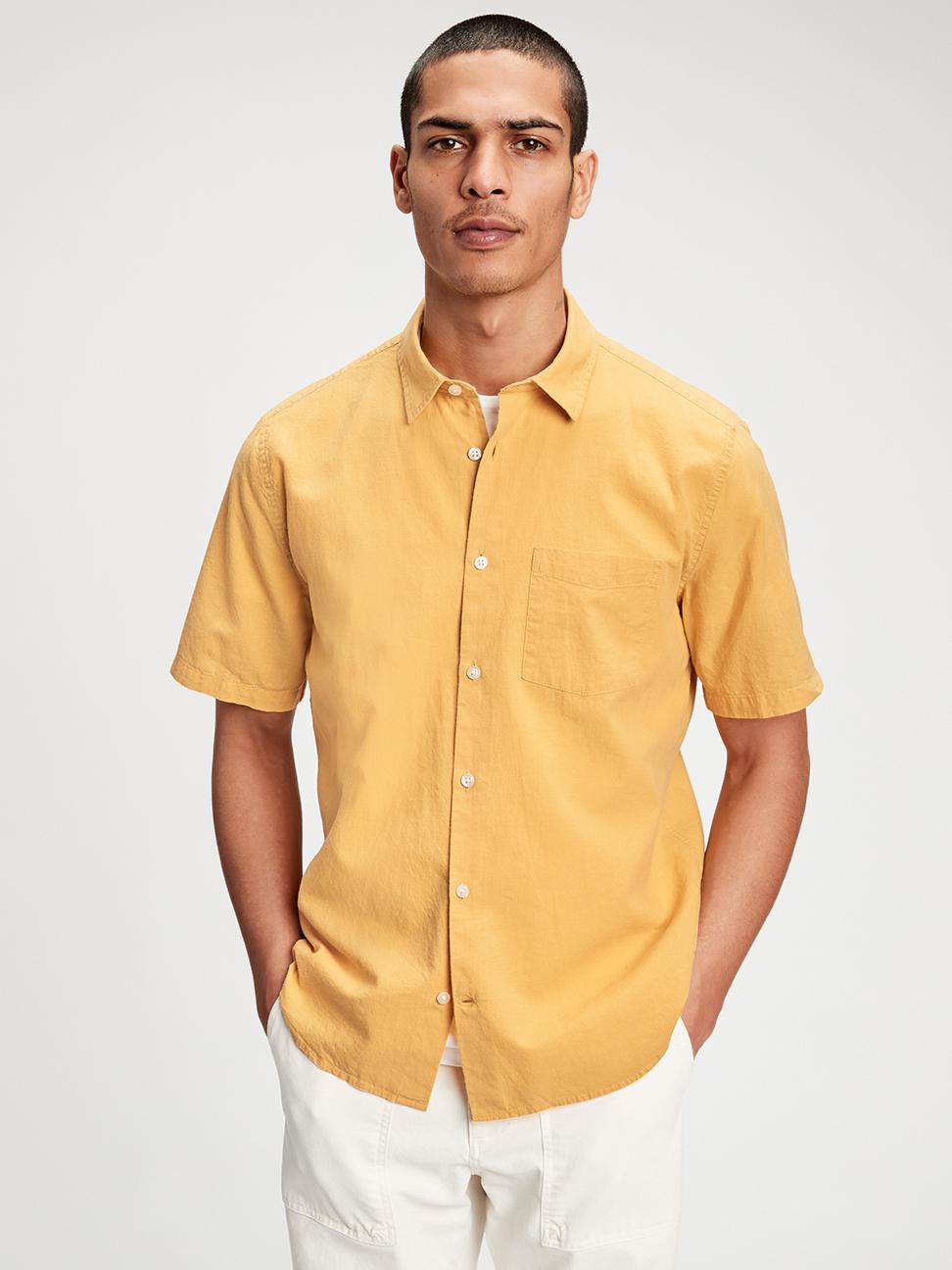 男裝 亞麻工裝風素色短袖襯衫