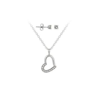 海外セレクション ダイヤモンド ジェムストーン 925 シルバー CZ オープン Floating ハート & ラウンド CZ ピアス Set