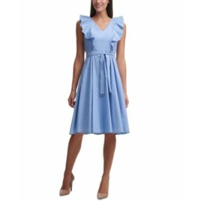 トミー ヒルフィガー レディース ワンピース トップス Cotton Striped Fit & Flare Dress Blue/ Bright White