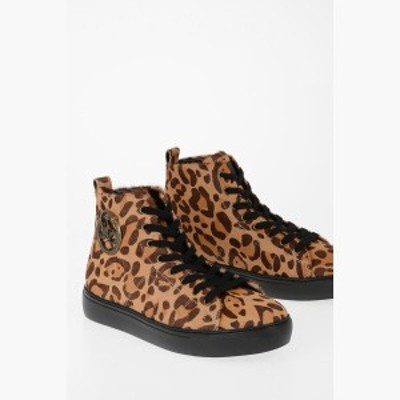 JUST CAVALLI/ジャスト カヴァリ スニーカー Brown メンズ Leather Leopard-Print Sneakers dk