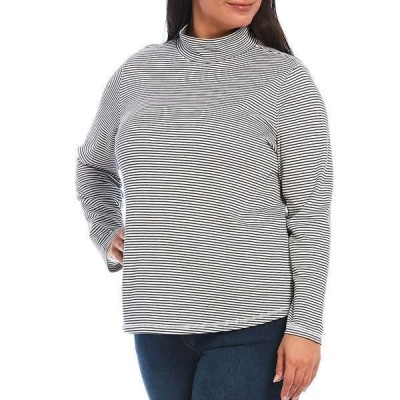 ウェストボンド レディース Tシャツ トップス Plus Size Black and White Striped Long Sleeve Mock Neck Top Black and White Stripe