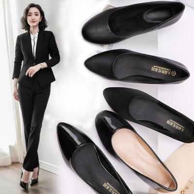 上品 韓国風 新作女性の事務靴だけで歩きやすい女性2020黒春夏秋冬のファッションの女性の美脚効果太めヒールピンヒール通勤軽量シューズ レディース