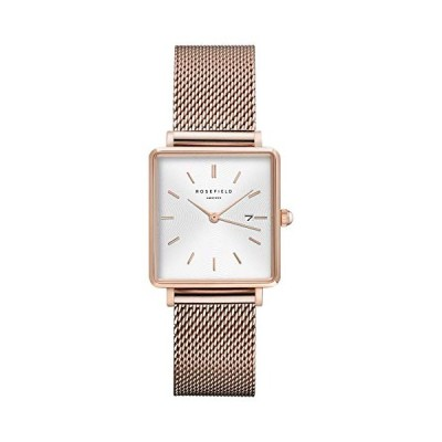 Rosefield Women's Watch The Boxy White Dial Sunray Mesh Rose Gold Strap Rose Gold Square Case QWSR-Q01 並行輸入品