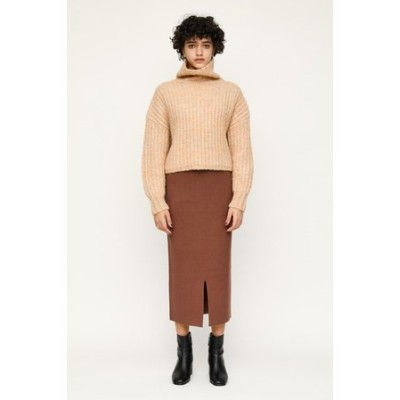 FRONT SLIT RIB ミディアムスカート