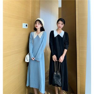 【✨話題の注目アイテム✨】 韓国 ファッション カジュアル 百掛け カレッジ風 スリム ニットワンピース 女性 長袖 プリーツスカート 気質 エレガント ロングスカート