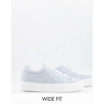 エイソス ASOS DESIGN レディース スニーカー 厚底 レースアップ シューズ・靴 Asos Design Wide Fit Vine Chunky Flatform Lace Up Trainers In Blue ブルー
