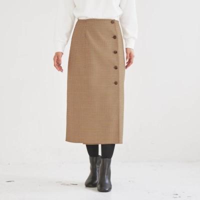 リバーシブルラップスカート ベージュ×チェック S M L LL