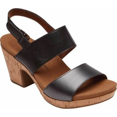 ロックポート レディース サンダル シューズ Women's Rockport Vivianne Two Band Heeled Sandal Black Leather