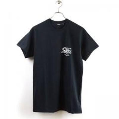 サイラス【SALE】サイラス SILAS メンズ Tシャツ SS TEE CURSIVE (110201011041 SS20) トップス 半袖 ロゴTee BLACK ブラック系【メール便対応】