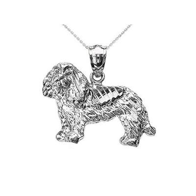 [新品]Textured 14KホワイトゴールドKing Charles Spaniel犬ペンダントネックレス