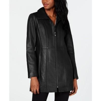 アンクライン コート アウター レディース Stand-Collar Leather Coat Black