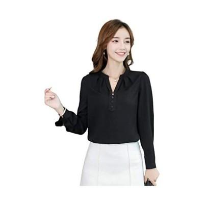 「TongYi ドウゲイ」 ファッション レディース ブラウス 半袖 長袖 tシャツ シャツ トップス シフォン 上着 着痩せ(Cブラック M)