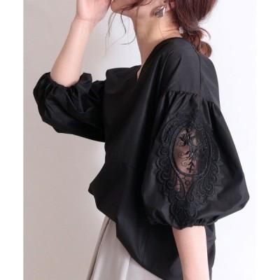 シャツ ブラウス 花刺繍レースのぽわん袖トップス