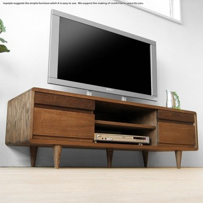 テレビ台 テレビボード 幅125cm タモ材 ウォールナット材 ツートンカラー 木製 ダークブラウン色