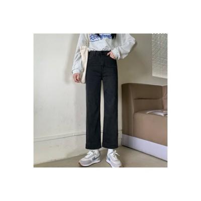 【送料無料】ハイウエスト ブラックストレート 女性のジーンズ 秋 韓国風 ルース 着 | 346770_A63771-3191477