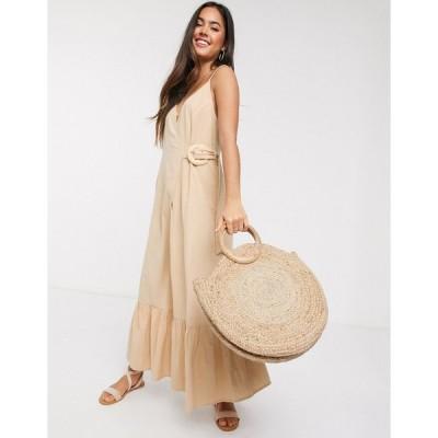 エイソス マキシドレス レディース ASOS DESIGN cami wrap maxi dress in linen with wicker belt in stone エイソス ASOS ベージュ