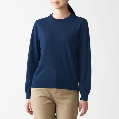 無印良品 ウールシルク 洗えるクルーネックセーター 婦人 L ブルー 良品計画
