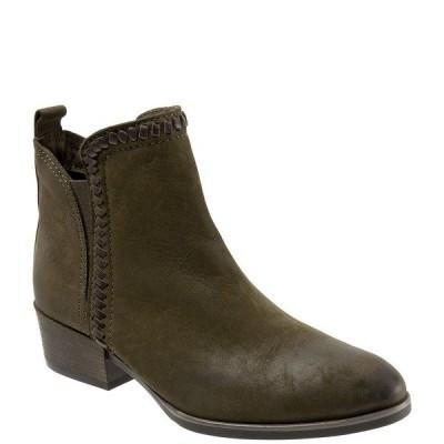 ブエノ レディース ブーツ&レインブーツ シューズ Lodi Nubuck Leather Stitch Accent Block Heel Chelsea Booties Army Green Nubuck