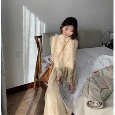 予約商品 大きいサイズ レディース プリーツ ニットワンピース 重ね着風 リブニットオーバーサイズ 韓国ファッション ビッグサイズ otona