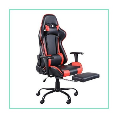 Queena High-Back Ergonomic Racing Gaming Chair Swivel Chair Office Chair with Footrest Tier Can Lie Flat Rotate (Color : Red)並行輸入品