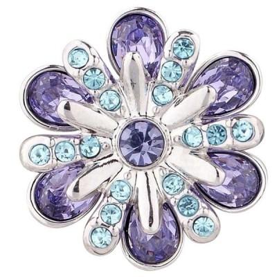 チャーム ブレスレット ハンドメイド Silver Blue Purple Rhinestone 20mm Snap Charm For Ginger Snaps Magnolia Vine