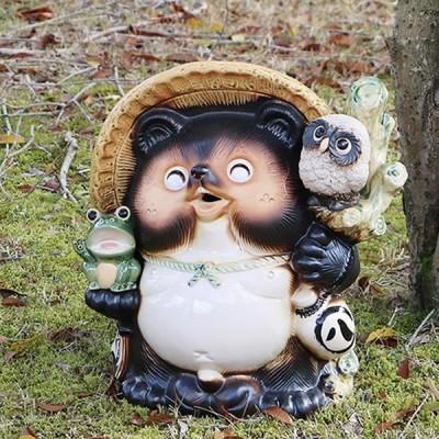 信楽焼 13号満願成就狸 笑い目  福を呼ぶ縁起物たぬき  タヌキ 陶器たぬき ふくろう狸 たぬき置物  狸 名前入れ ta-0264