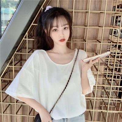 Tシャツ レディース 半袖 オーバーサイズ M L XL ホワイト ブラック パープル おしゃれ シンプル カジュアル 2020春夏 ビッグTシャツ ナチュラル