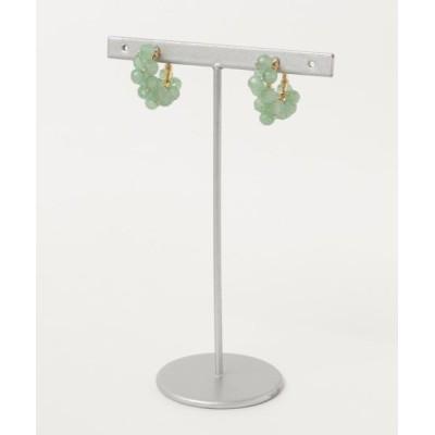 イヤリング 【marinaJEWELRY】Green Aventurine wrapped hoop earring