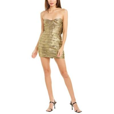 フォーラブアンドレモン ワンピース トップス レディース For Love & Lemons Juliette Brocade Mini Dress gold