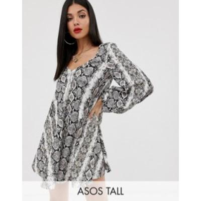 エイソス レディース ワンピース トップス ASOS DESIGN Tall textured mini v neck swing dress in snake print Snake print