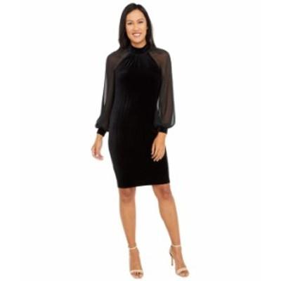 カルバンクライン レディース ワンピース トップス Velvet Dress with Illusion Sleeves Black