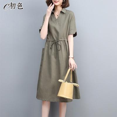 初色  純色繫帶收腰洋裝-共2色-(M-2XL可選)