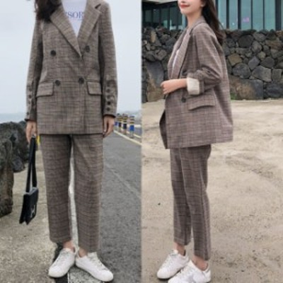 チェック セットアップ 韓国 ファッション レディース 春服 パンツスーツ グレンチェック 可愛い ダブルスーツ アンクルパンツ 上下セッ
