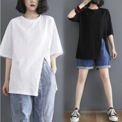 夏T 大きいサイズ 半袖Tシャツ ブラック ホワイト簡約 無地 着痩せ ファッション レディース ゆったりTシャツ イレギュラートップス クルーネック ブラウス