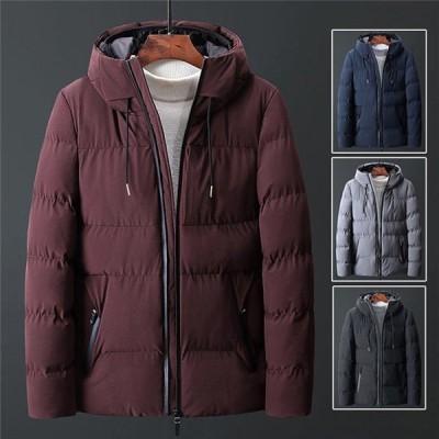 ダウンコート中綿コートメンズビジネス大きいサイズ軽量キルティング中綿ダウンジャケットフード付き防風着防寒着冬アウタークリスマス