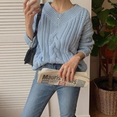ENVYLOOK レディース ニット/セーター Binz Twisted Loose-fit V-Neck Knitwear