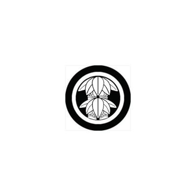 家紋シール 中輪に二本竹笹紋 直径4cm 丸型 白紋 4枚セット KS44M-2343W