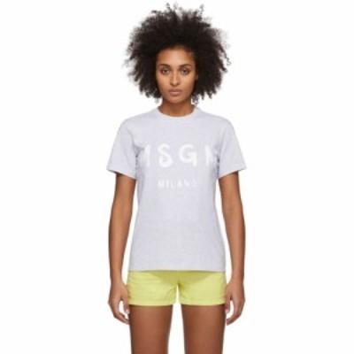 エムエスジーエム MSGM レディース Tシャツ トップス Grey Artist Logo T-Shirt Grey