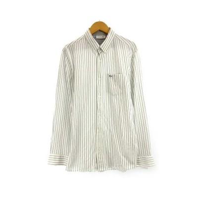 【中古】ラコステ LACOSTE BDシャツ 長袖 ボタンダウン ストライプ ワンポイントロゴ刺繍 ホワイト ネイビー 4 約L PH735E SSS8 メンズ 【ベクトル 古着】