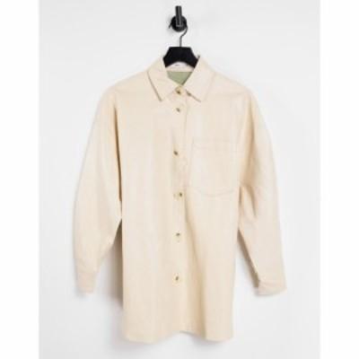 マンゴ Mango レディース ブラウス・シャツ シャツジャケット トップス Faux Leather Overshirt In Cream クリーム