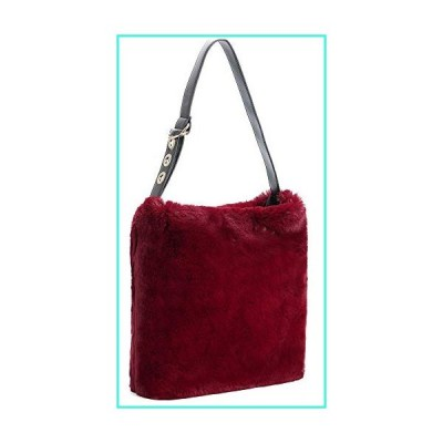 【新品】Women's Winter Fuzzy Tote Bag Soft Faux Fur Large Big Handbag Fashion Designer Satchel Hobo Purse For Women Winered(並行輸入品)