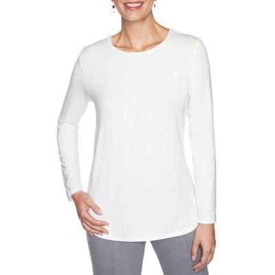 ルビーアールディー レディース Tシャツ トップス Knit Jersey Crew Neck Long Sleeve Cotton Blend Top