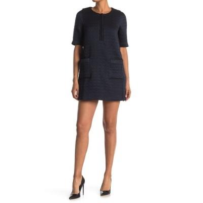 フレンチ レディース ワンピース トップス 1/4 Sleeve Textured Short Dress BLUE
