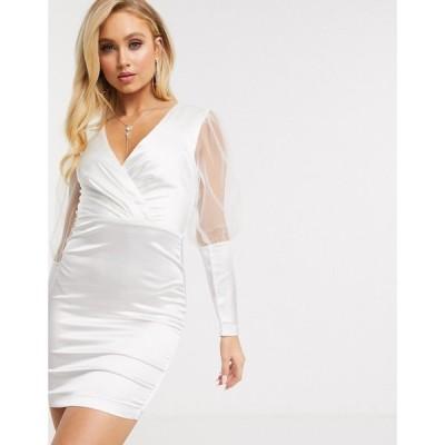 ガールコード The Girlcode レディース ワンピース ミニ丈 ワンピース・ドレス satin mini dress with tulle puff sleeves in white ホワイト