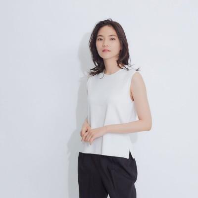 カリテ qualite ウォッシャブルノースリーブニットTシャツ (ホワイト)