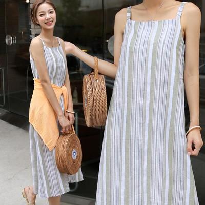 体型カバーに効く Qoo10限定送料無料🍏海辺の女リネン袖なしのワンピース🍏2-color